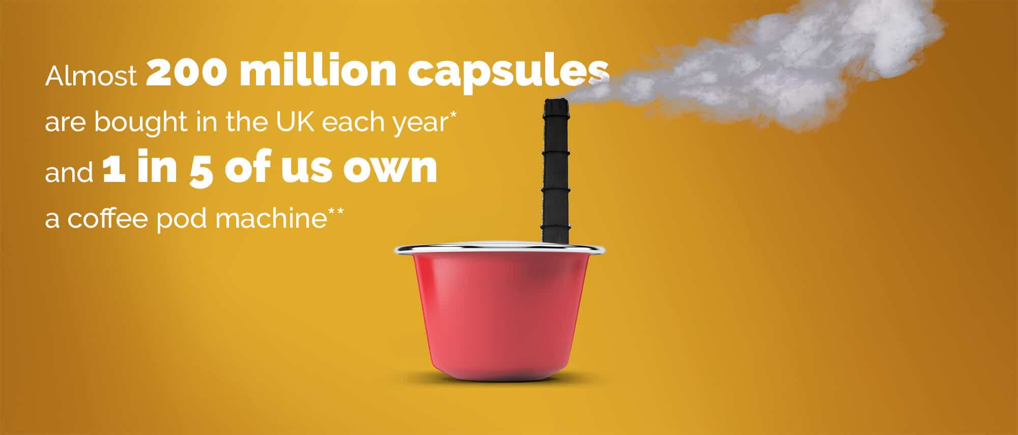 "smoking coffee pod image and text ""Almost 200 million capsules are bought in the UK each year and 1 in 5 of us own a coffee pod machine"""