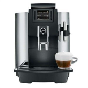 Jura WE8 bean to cup coffee machine black and silver model front view