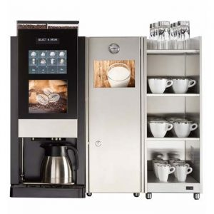 Aequator Mexico bean to cup coffee machine with milk chiller and cup warmer front view black model