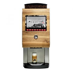 Aequator Peru bean to cup coffee machine front view silver and wood model