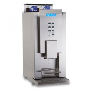 Aequator Rio 14 commercial bean to cup coffee machine side view chrome model