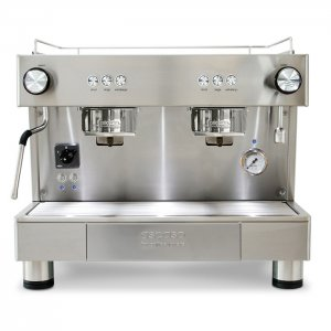 Ascaso Bar 2 group espresso machine front view chrome model