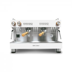 Ascaso Barista 2 group espresso machine front view white and chrome model