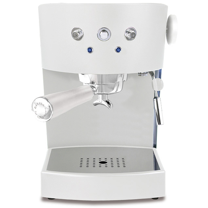 Ascaso Basic 1 group espresso machine front view white model