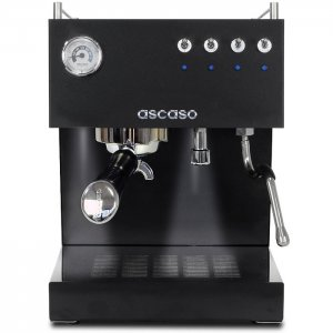 Ascaso Steel 1 group espresso machine front view black model