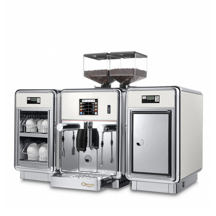 Astoria Gemma bean to cup coffee machine with milk chiller and cup warmer Side View chrome model