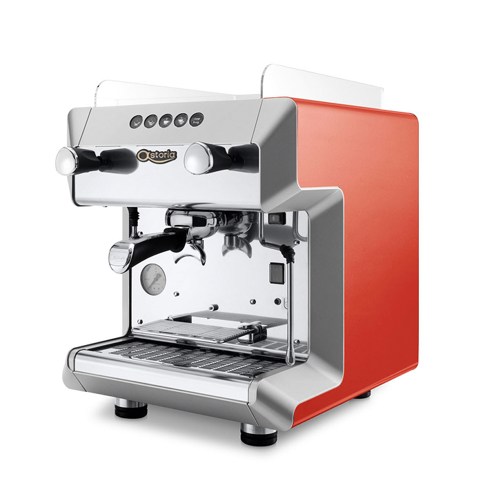 Astoria Greta 1 group espresso machine side view red model