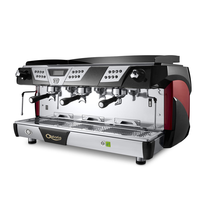 Astoria Plus4You TS 3 group espresso machine side view black and red model