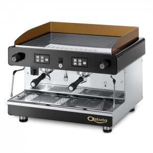 Astoria Pratic Avant barista style coffee machine 2 group black and silver model left side view