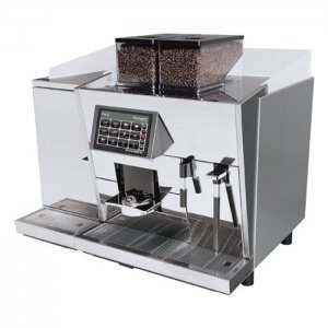 Black & White 3 bean to cup coffee machine with milk chiller side view chrome model