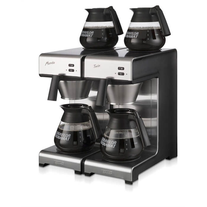 Bravilor Mondo Twin round filter coffee machine left side view black and silver model