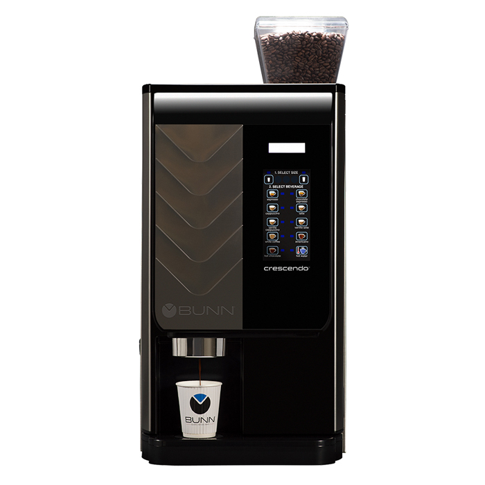 Bunn Crescendo commercial bean to cup coffee machine front view black model