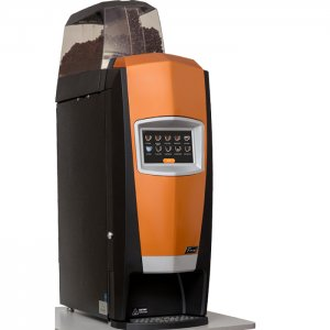 Cafection Encore bean to cup coffee machine Lite Side View black and orange machine