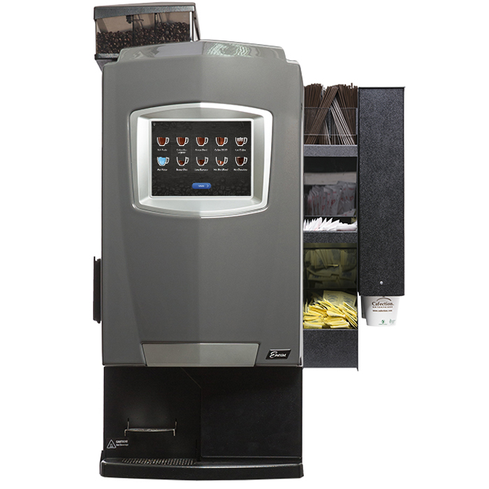 Cafection Encore Venti bean to cup coffee machine with sachet holder front view black model