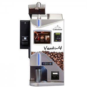 Cafection Innovation Venti 4 commercial bean to cup coffee machine front view with design panel