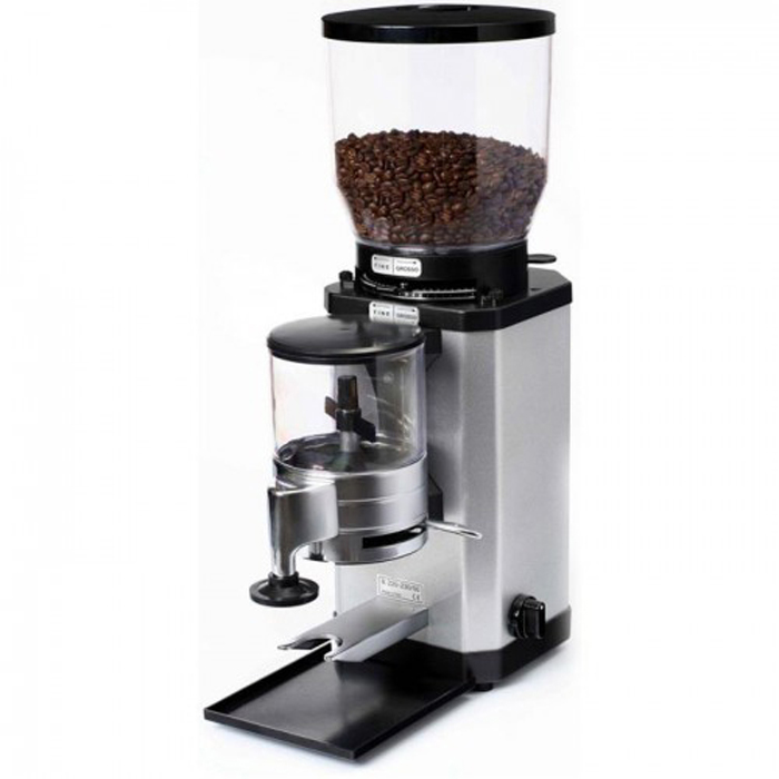 Caimano Timer commercial coffee grinder side view black and silver model