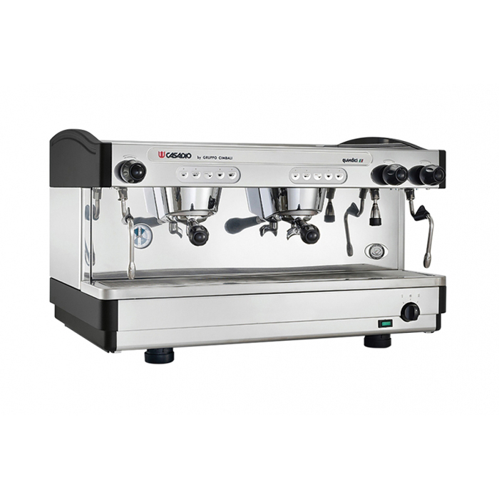 Casadio Quindici A 2 group espresso machine right side view chrome model with black detail