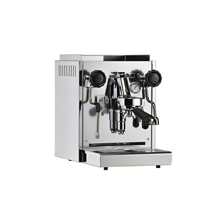 Cime CO O1 1 group espresso machine front side view chrome