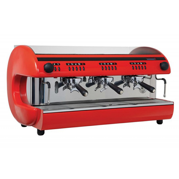 Cime CO O4 3 group espresso machine right side view red and chrome model