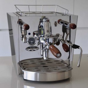 Fracino Classico espresso or pod machine with wooden handles, front view, chrome