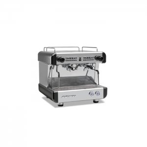 Conti CC100 Compact 2 group espresso machine right side view chrome model with black detail
