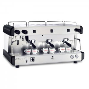 Conti SA SAM 3 group espresso machine front side view silver and black model