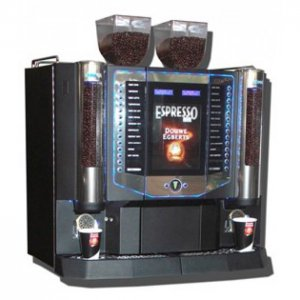 Darenth Roma Duo bean to cup coffee machine side view with LED illumination black model