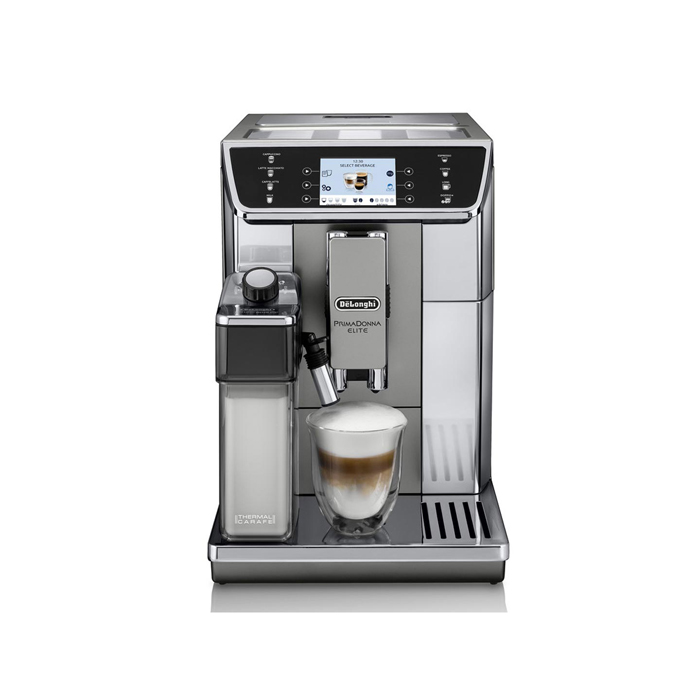 DeLonghi PrimaDonna Elite bean to cup machine with coffee front view chrome model