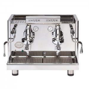 ECM elektronia Profi Due barista style coffee machine 2 group silver model front view