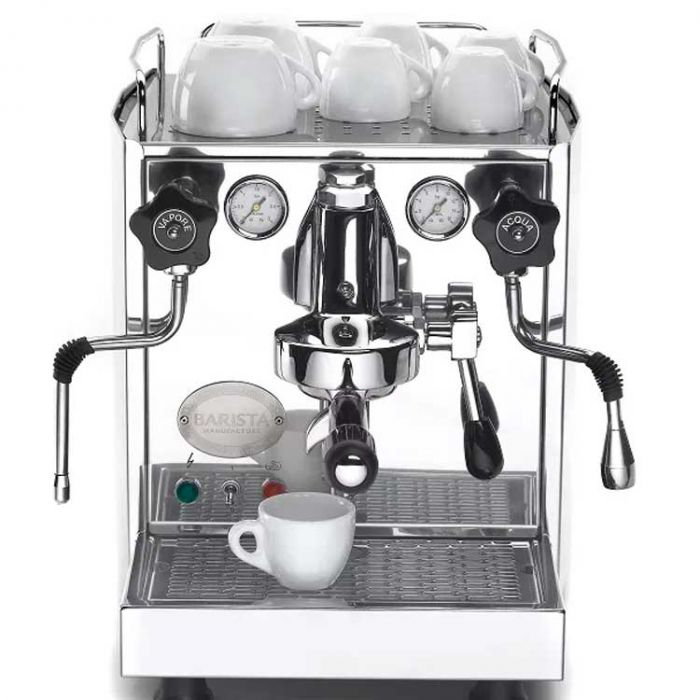 ECM Heidelberg 1 group espresso machine front view chrome model