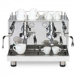ECM Mechanika Profi Due 2 group espresso machine front view chrome model
