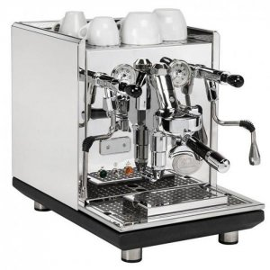 ECM Synchronika 1 group espresso machine 1 right side view chrome model with black trim