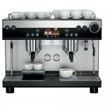 WMF espresso barista style coffee machine 2 group black and silver model with cup storage and adjustable cup height feature