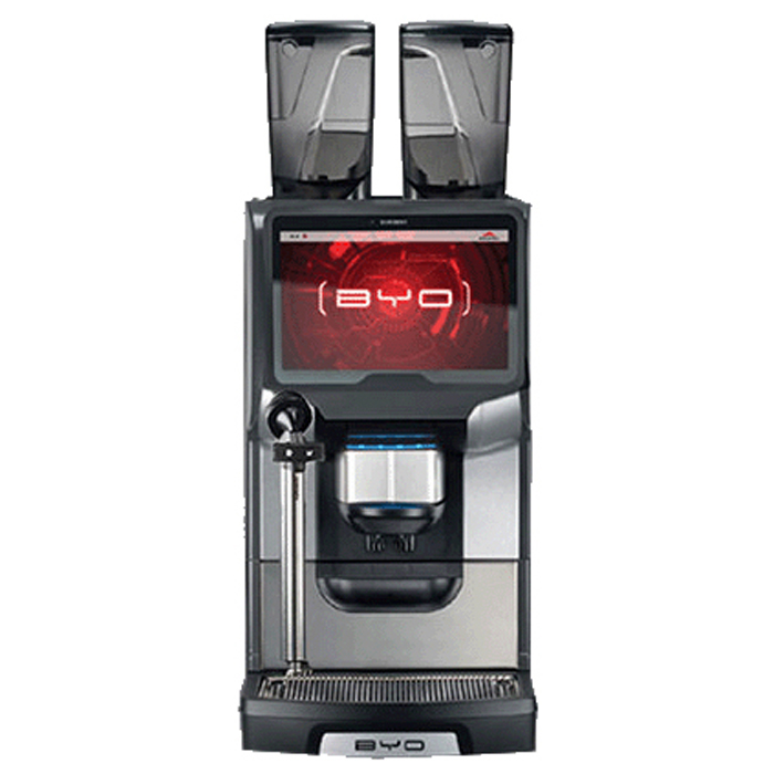 Egro BYO bean to cup coffee machine front view black and silver model