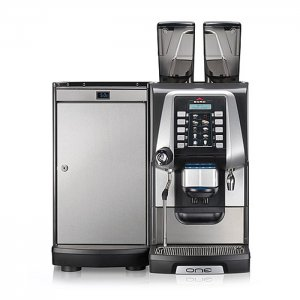 Egro ONE Keypad bean to cup coffee machine with milk chiller front view black and silver model