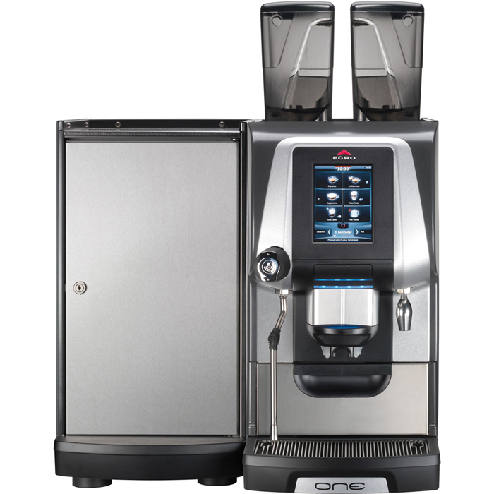 Egro ONE Touch bean to cup coffee machine with milk chiller front view silver and black model