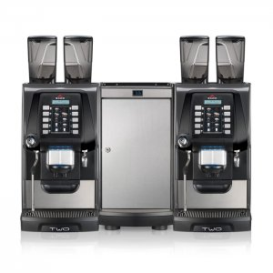 Egro Two coffee machines front view silver and black model
