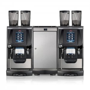 Egro TWO Touch bean to cup coffee machine with milk chiller front view silver and black model