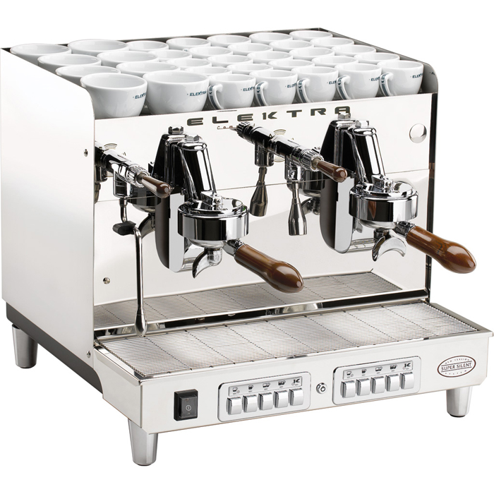 Elektra Sixties barista style coffee machine 2 group silver model with cup holder space right side view
