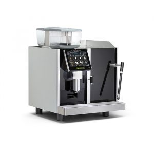 Eversys E2 bean to cup coffee machine side view black and silver model