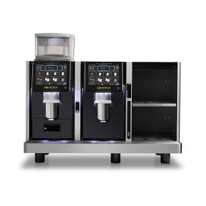 Two Eversys E4 bean to cup coffee machine with cup warmer black and silver model