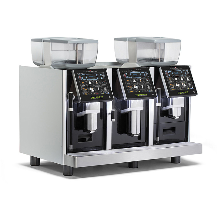 3 Eversys E6 bean to cup coffee machine side view silver and black model