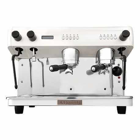 Expobar G-10 two group espresso machine in white, front view
