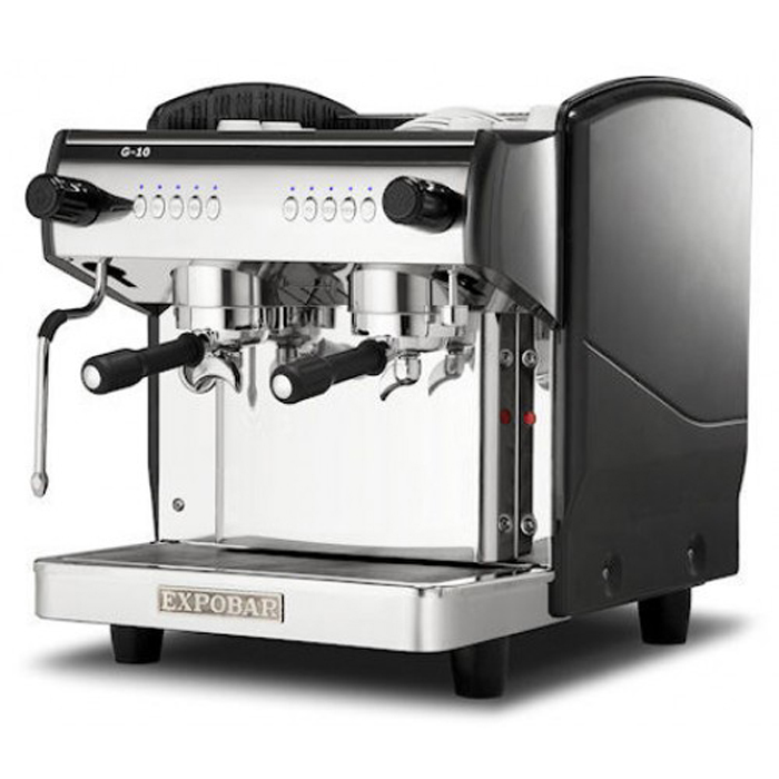 Expobar G10 2 group espresso machine side view black and silver model