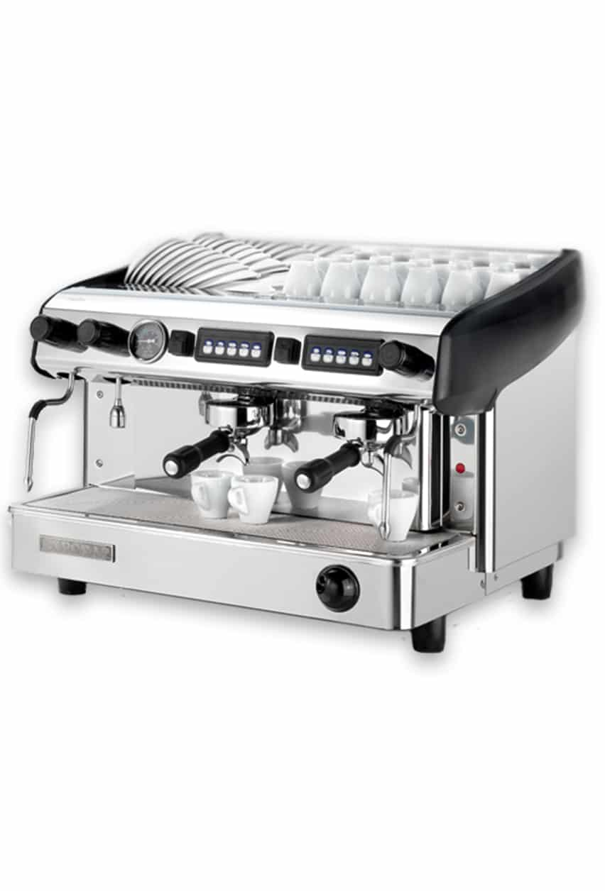Expobar Megacrem espresso machine with cups, side view, black and chrome