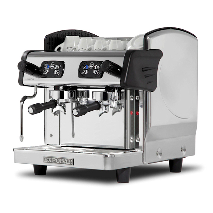 Expobar Zircon espresso machine, side view, chrome