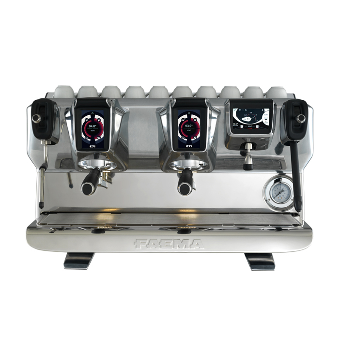 Faema E71 2 group espresso machine front view silver model