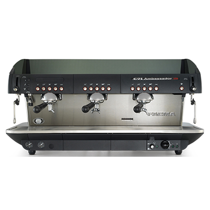 Faema E91 Ambassador 3 Group espresso machine Front View black model