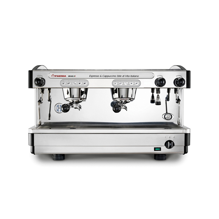 Faema E98 RE 2 group espresso machine front view chrome and black model