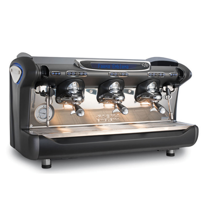 Faema Emblema barista style coffee machine 3 group black and silver model right side view